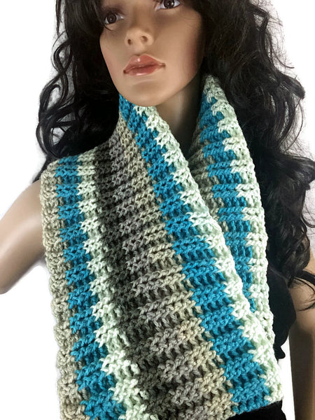 Ribbed Striped Cowl - Turquoise Brown White - FREE SHIPPING C15