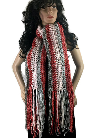 Ragamuffin Chunky Long Winter Scarf with Fringe - Gray Coral Orange Pink- FREE SHIPPING SC08