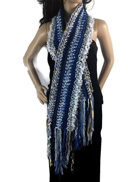 Ragamuffin Chunky Long Winter Scarf with Fringe - Blue Gold White - FREE SHIPPING SC06