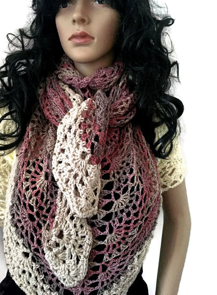Winter Lace Shawl -Beaded Muted Pink, Taupe, Cream Wrap - FREE SHIPPING SH11
