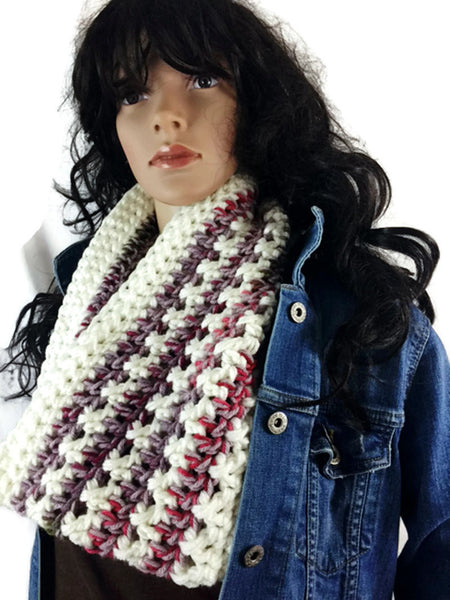 Scottish Flowers in the Snow Cowl Scarf - Cream & Multicolored - FREE SHIPPING C09