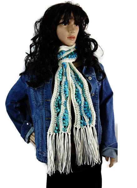 Snowy Bluebells Fringe Winter Scarf - Cream White Turquoise Blue - FREE SHIPPING C14