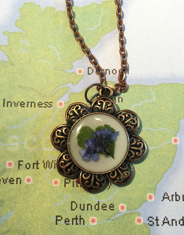 Outlander Scottish Forget Me Not Necklace - Antiqued Gold or Copper - FREE SHIPPING OJ04