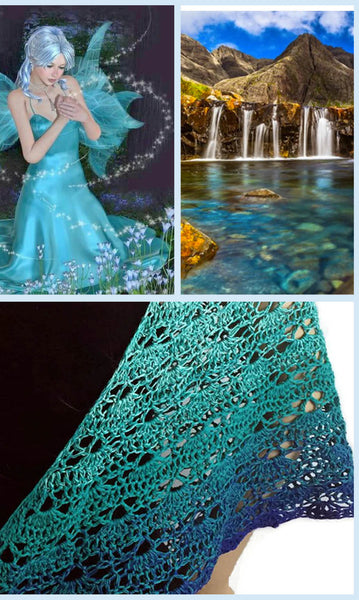 Fairy Pool Turquoise Blue Ombre Shawl