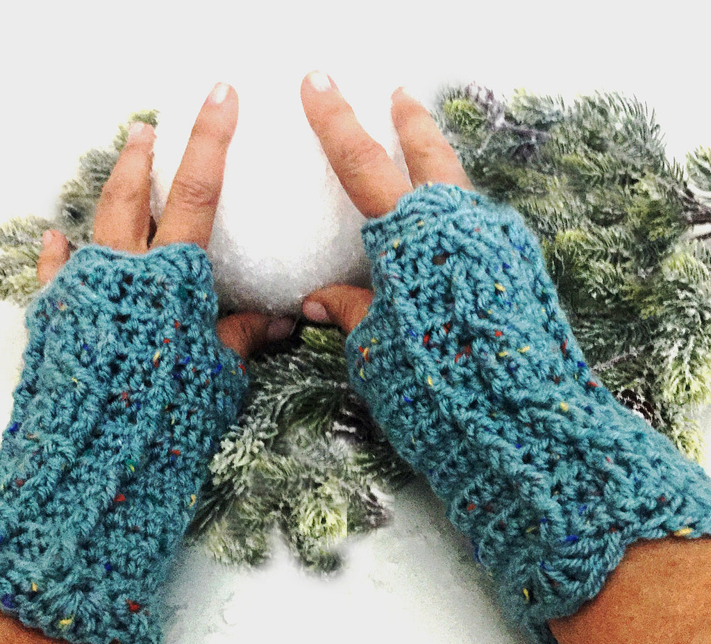 Outlander Claire's Fingerless Cabled Texting Gloves - Aqua Blue - FREE SHIPPING G02