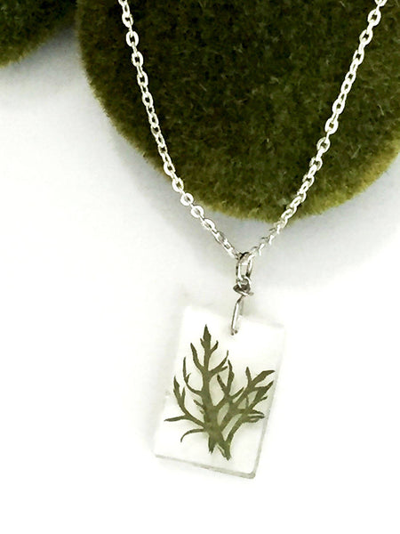 Real fern botanical necklace pendant