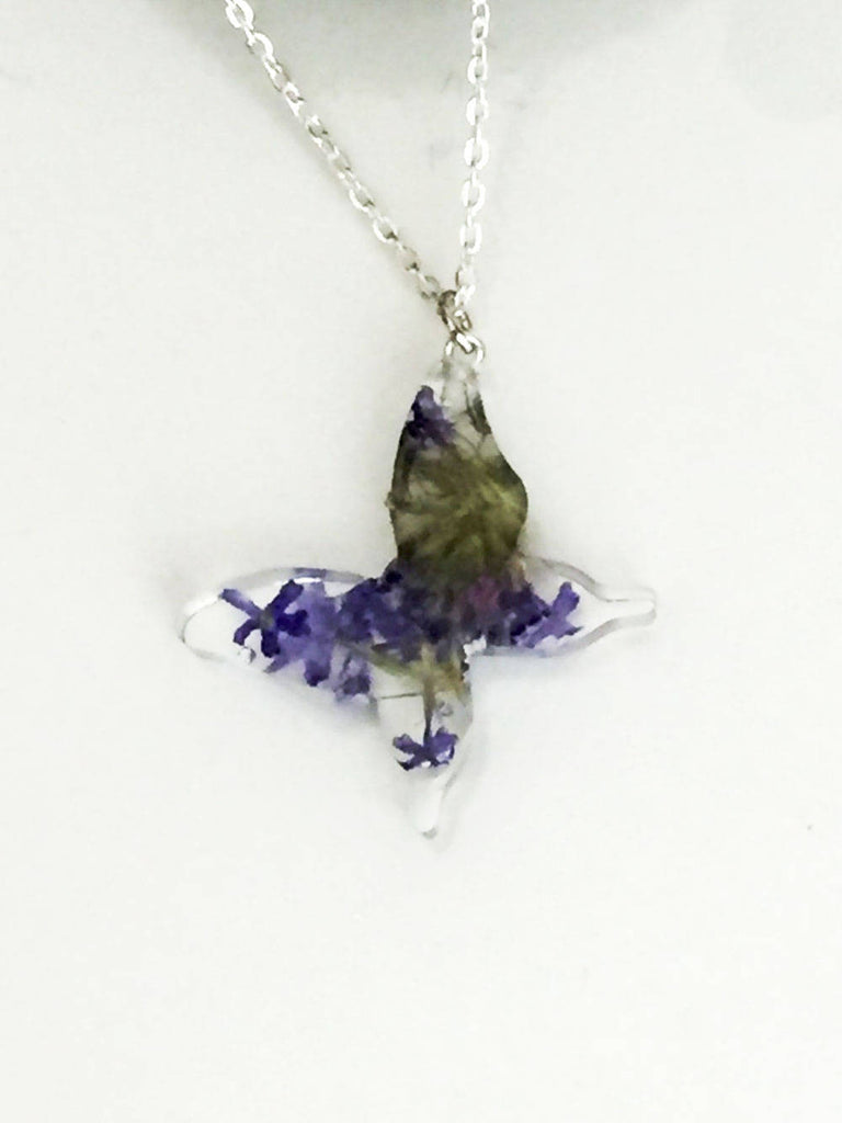 Botanical Real Flower Butterfly Necklace - Wild Lupine Flowers