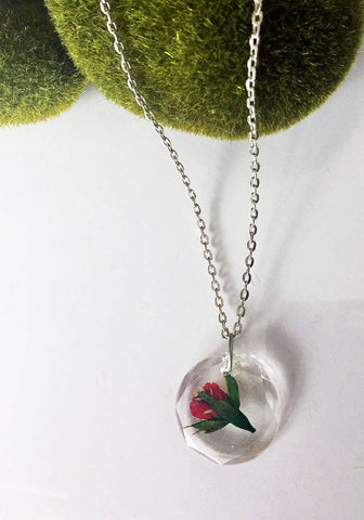 Botanical Real Miniature Red Rosebud Necklace - Round with Bevel