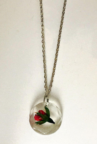 Botanical Real Flower Pendant Necklace - Miniature Red Rosebud - FREE SHIPPING FN14