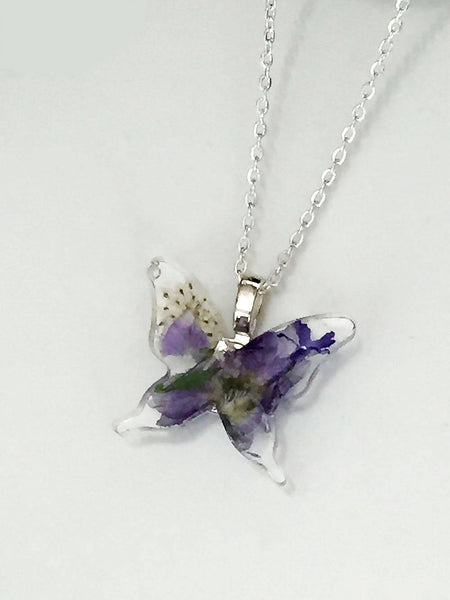 Botanical Real Flower Butterfly Pendant Necklace - Blue Larkspur and Queen Anne's Lace - FREE SHIPPING - FN07