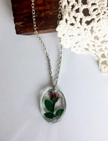 Botanical Real Flower Oval Necklace - Miniature Red Rosebud - FREE SHIPPING  FN15