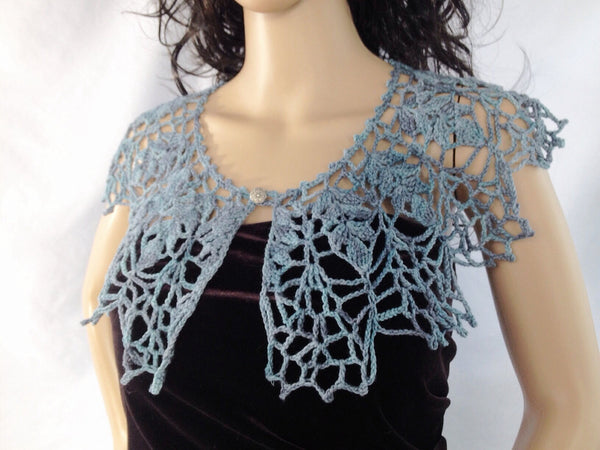 Outlander Claire's Thistle Lace Collar - Blue Gray - FREE Shipping CL03