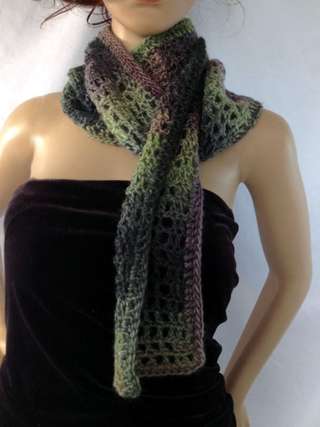 Scottish Long Outlander Scarf - Green Purple - FREE SHIPPING S15