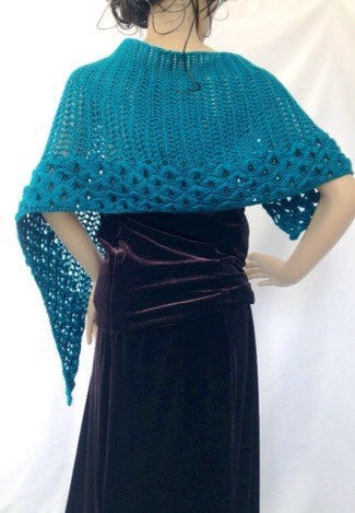 Victorian Teal Blue Shawl