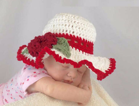 Baby Sun Hat - Red, White