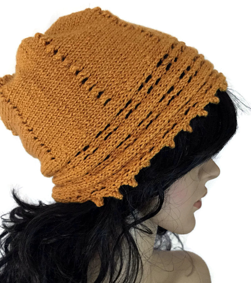 Warm Knit Slouchy Hat - Goldenrod FREE SHIPPING  H03