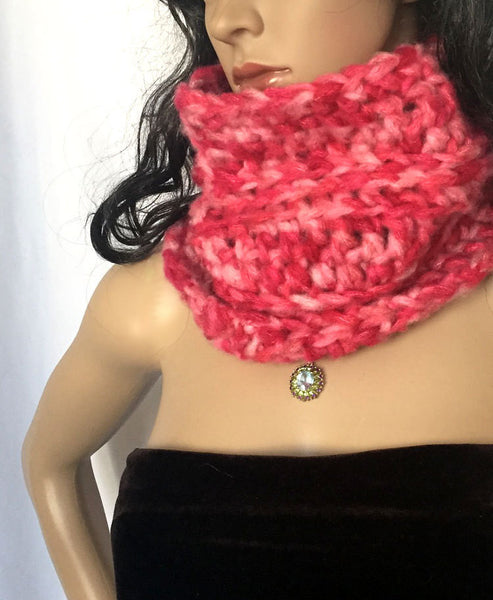 Warm and Soft Chunky Cowl or Infinity Scarf - Pink
