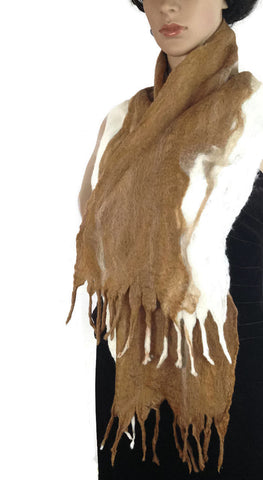 Outlander Scottish Brown Felt Silk Art Scarf - OOAK Cobweb Felt - FREE SHIPPING F11