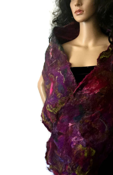 Violets and Roses at Dusk Silk Art Scarf - OOAK Cobweb Felt - FREE SHIPPING F08
