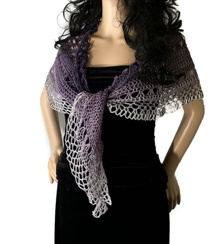 Outlander Jamie's Amethyst for Claire Ombre Shawl - Purple to Gray - FREE SHIPPING SH71