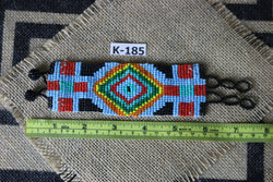Art# K185 3+ inch. Original Kayapo Traditional Peyote stitch Beaded Bracelet from Brazil.