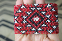 Art# K62 3+ inch  Original Kayapo Traditional Peyote stitch Beaded Bracelet from Brazil.