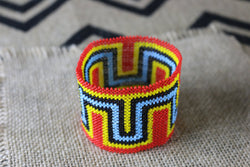 Art# K149 inch 3.5  Original Kayapo Traditional Peyote stitch Beaded Bracelet from Brazil.