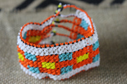 Art# K282  4 inch. Original Kayapo Traditional Peyote stitch Beaded Bracelet from Brazil.