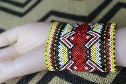 Art# K36 3+ inch Original Kayapo Traditional Peyote stitch Beaded Bracelet from Brazil.