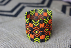 Art# K53 3 inch  Original Kayapo Traditional Peyote stitch Beaded Bracelet from Brazil.
