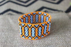 Art# K65  Original Kayapo Traditional Peyote stitch Beaded Bracelet from Brazil.