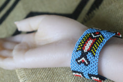 Art# K77  3 inch Original Kayapo Traditional Peyote stitch Beaded Bracelet from Brazil.