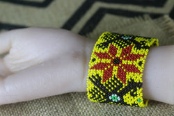 Art# K80 3+ inch  Original Kayapo Traditional Peyote stitch Beaded Bracelet from Brazil.