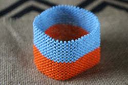 Art# K236  4 inch. Original Kayapo Traditional Peyote stitch Beaded Bracelet from Brazil.