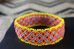 Art# K307  4+  inch. Original Kayapo Traditional Peyote stitch Beaded Bracelet from Brazil.