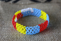 Art# K427  4 inch. Original Kayapo Traditional Peyote stitch Beaded Bracelet from Brazil