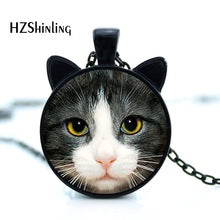 Cute Glass Cat Photo Pendant Necklace By HZSHINLING
