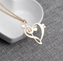 Women's Fashion Hollow Heart Shaped Musical Note Pendant Necklace By Colorful Bling