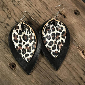 Large Double Layer Animal Print Leaf Earrings