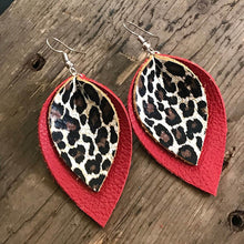 Load image into Gallery viewer, Large Double Layer Animal Print Leaf Earrings