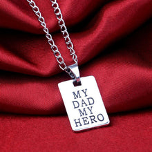 "Unisex Silver Plated ""My Dad My Hero"" Necklace Pendant By CHIC DREAM"