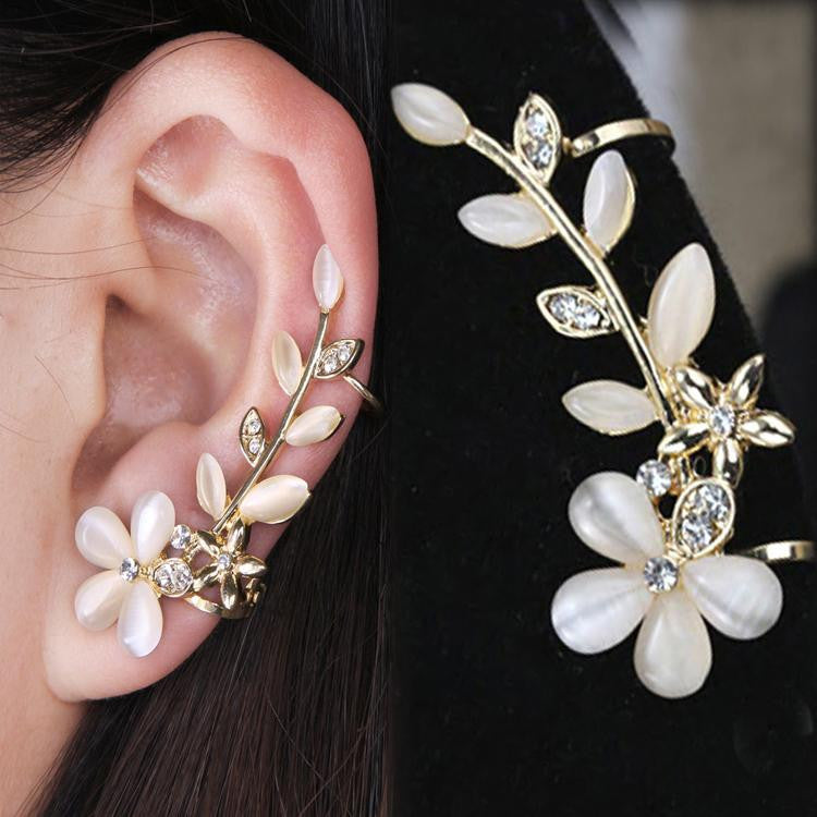Chic Retro Flower Rhinestone Crystal Left Ear Cuff Stud Earring Wrap