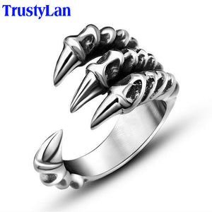 Vintage Gothic Punk Rock Stainless Steel Men's Silver Color Dragon Claw Biker Ring By TrustyLan