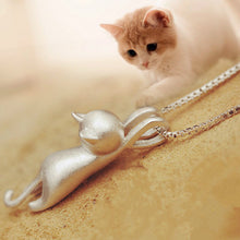Load image into Gallery viewer, Women's .925 Silver Plated Kitty Cat Hanging Pendant Necklace By Colorful Bling