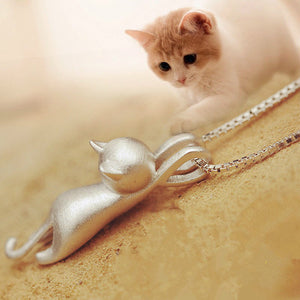 Women's .925 Silver Plated Kitty Cat Hanging Pendant Necklace By Colorful Bling