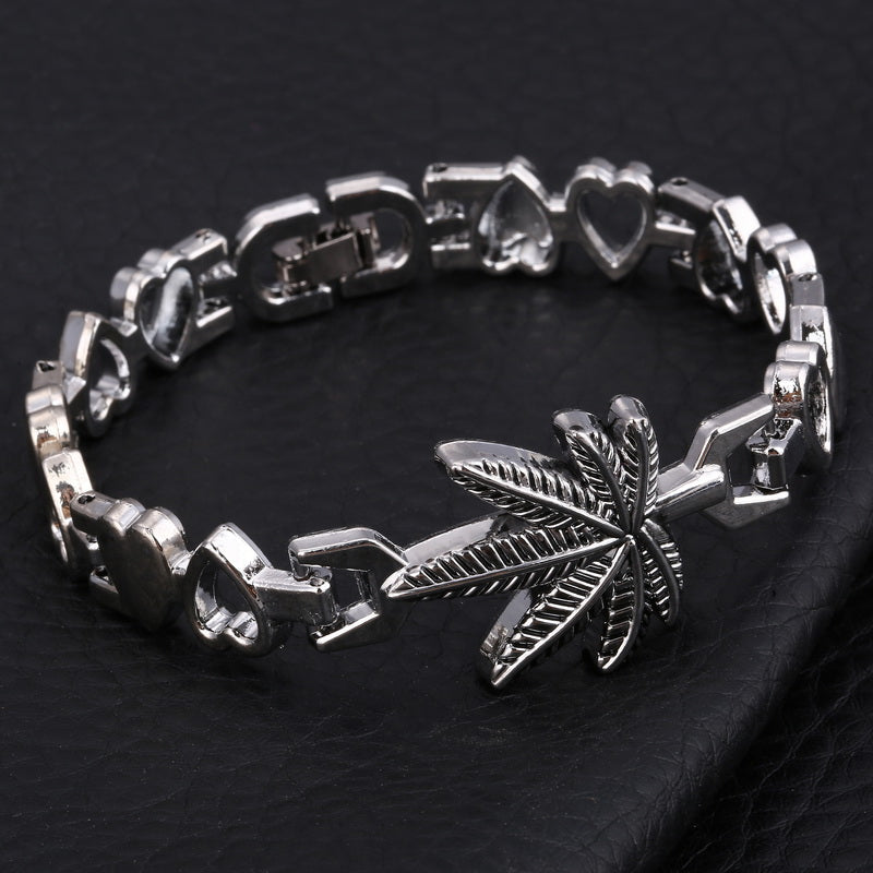 Stainless Steel Men's Maple Leaf Charms Antique Silver Beaded Bracelets By, Hesiod