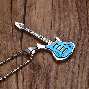 Men's Guitar Necklace With Free Stainless Steel Chain By VNOX