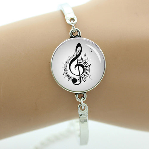 Women's Fancy Vintage Glass Musical Note Charm Bracelet By TAFREE