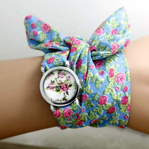 Shsby Flower Cloth Wristwatch With High Quality Fashion Cloth
