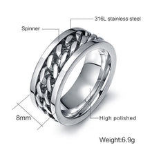8mm Stainless Steel Black Chain Spinner Fashion Ring By Meaeguet